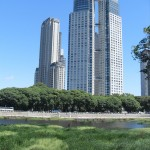 Sky scrapers of Buenos Aires with wetlands in foreground